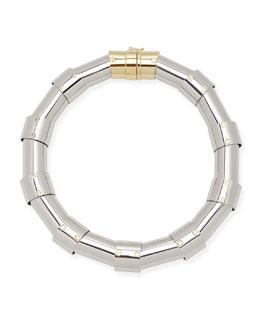 Lanvin Silvertone Tube Necklace