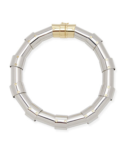 Lanvin Silvertone Tube Necklace