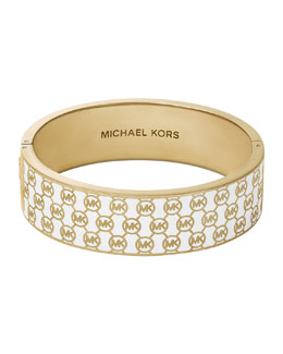 Michael Kors  Monogram Hinge Bangle, White/Golden