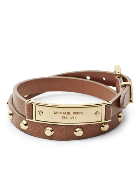 Double-Wrap Leather Bracelet, Luggage/Golden