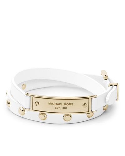 Michael Kors  Double-Wrap Leather Bracelet, White/Golden