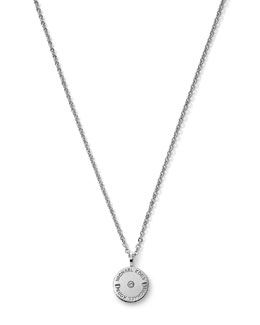 Michael Kors  Logo-Etch Disc Pendant Necklace, Silver Color