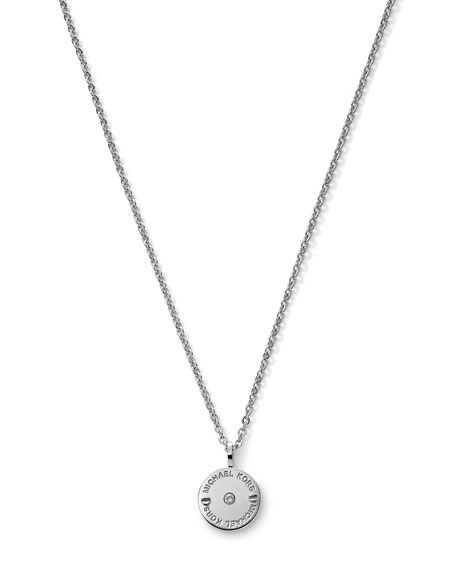 Logo-Etch Disc Pendant Necklace, Silver Color