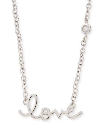 SHY by Sydney Evan Rhodium Love Pendant Bezel Diamond Necklace
