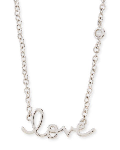 SHY by SERhodium Love Pendant Bezel Diamond Necklace