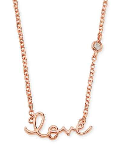 SHY by Sydney Evan Rose Gold Love Pendant Bezel Diamond Necklace