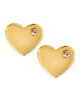 SHY by Sydney Evan Diamond 14k Vermeil Heart Stud Earrings