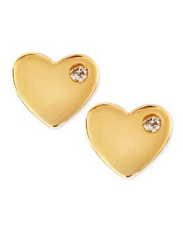 SHY by Sydney Evan Diamond 14k Vermeil Heart Stud Earrings
