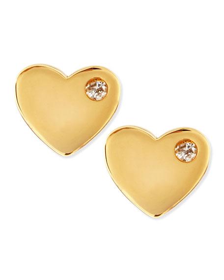 Diamond 14k Heart Stud Earrings
