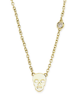 SHY by Sydney Evan White Gold Skull Pendant Bezel Diamond Necklace