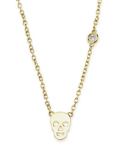 SHY by Sydney Evan Gold Skull Pendant Bezel Diamond Necklace