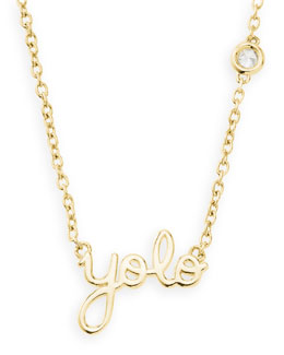 SHY by Sydney Evan Gold YOLO Pendant Bezel Diamond Necklace