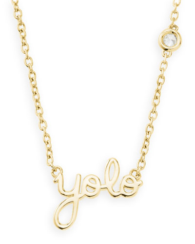Gold YOLO Pendant Bezel Diamond Necklace
