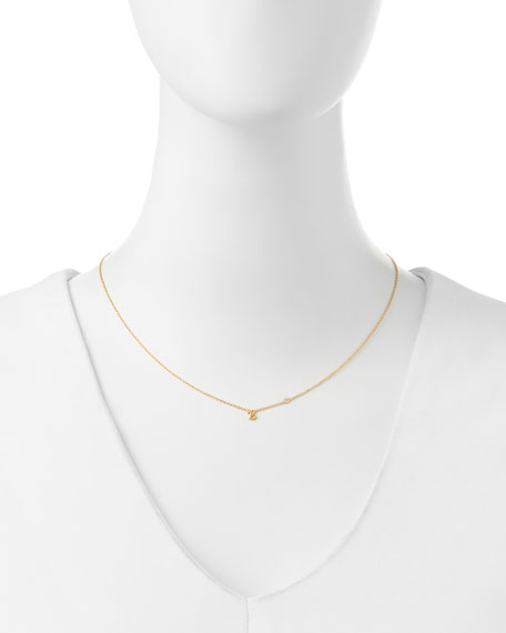 B Initial Pendant Necklace with Diamond