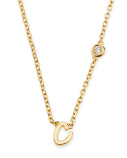 SHY by Sydney Evan C Initial Pendant Necklace with Diamond