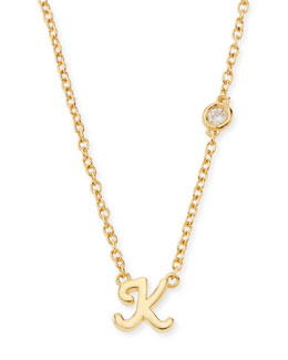 SHY by Sydney Evan K Initial Pendant Necklace with Diamond