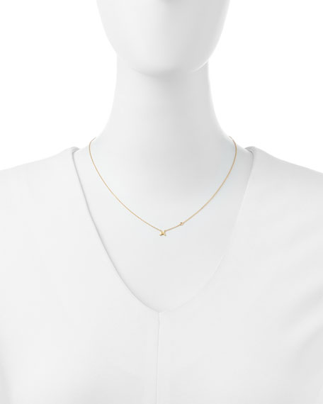SHY by SE M Initial Pendant Necklace with Diamond