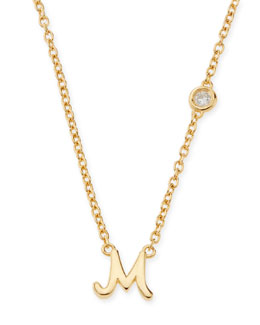 SHY by Sydney Evan M Initial Pendant Necklace with Diamond