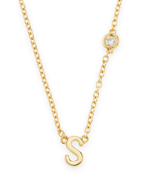 SHY by SE S Initial Pendant Necklace with
