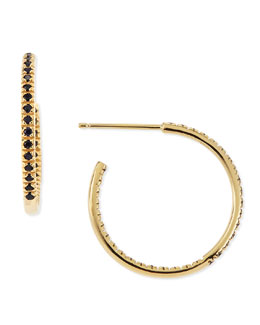 Sydney Evan Small Yellow Blue Sapphire Hoop Earrings