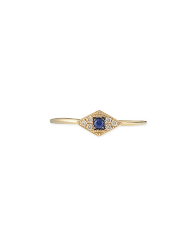 Sydney Evan 14k Yellow Mini White Diamond Evil Eye Ring