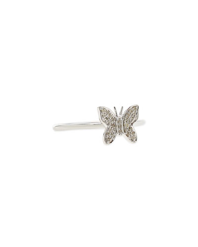 Sydney Evan 14-Karat White Gold Butterfly Ring with Pave Diamonds