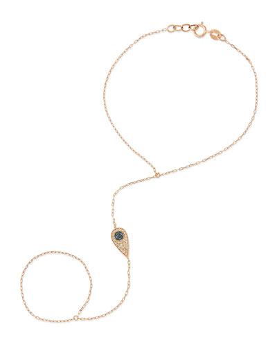 Sydney Evan 14-Karat Teardrop Hand Bracelet with Diamonds and Sapphires
