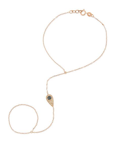 14-Karat Teardrop Hand Bracelet with Diamonds and Sapphires