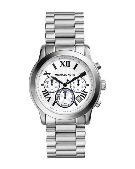 Mid-Size Cooper Silver Color Stainless Steel Chronograph Watch