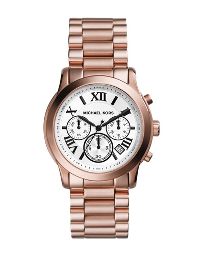 Michael Kors  Mid-Size Cooper Rose Golden Stainless Steel Chronograph Watch
