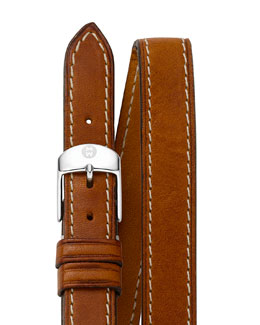 MICHELE 18mm Double-Wrap Leather Strap, Tan