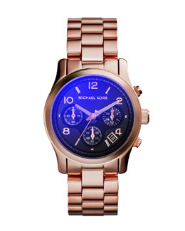 Michael Kors  Mid-Size Rose Golden Stainless Steel Runway Chronograph Watch