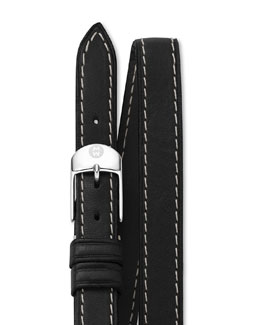 MICHELE 12mm Double-Wrap Leather Strap, Black