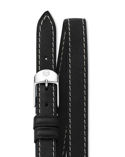 MICHELE 12mm Double-Wrap Leather Strap, Black