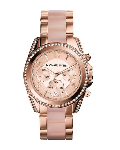 Michael Kors Mid-Size Rose Golden Stainless Steel Blair