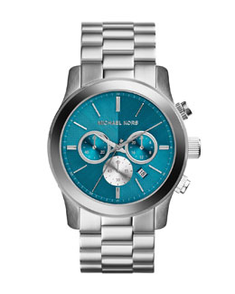 Michael Kors  Oversize Silver Color Stainless Steel Runway Chronograph Watch