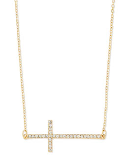 Jules Smith Long Pave Cross Charm Necklace