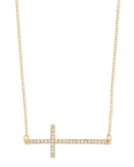 Long Pave Cross Charm Necklace