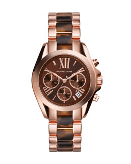 Michael Kors  Mini Rose Golden/Tortoise Stainless Steel Bradshaw Chronograph Watch