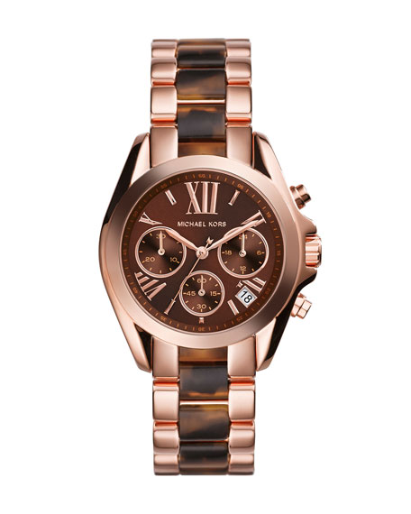 Mini Rose Golden/Tortoise Stainless Steel Bradshaw Chronograph Watch
