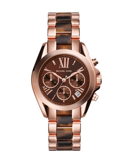 Mini Rose Golden/Tortoise Stainless Steel Bradshaw Chronograph Watch