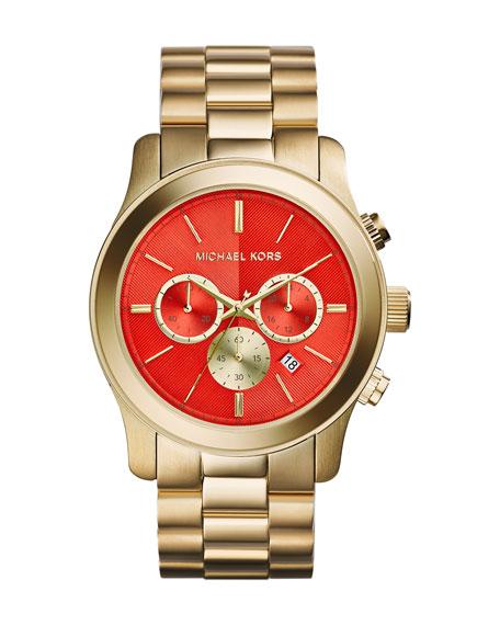 Oversize Golden Stainless Steel Runway Chronograph Watch