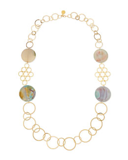 Devon Leigh Round Chalcedony Multi-Circle Necklace, Sea Foam