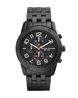 Michael Kors  Men's Black Stainless Steel Mercer Chronograph Watch