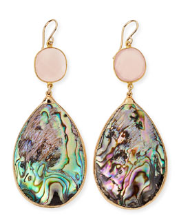 Devon Leigh Abalone Teardrop Earrings in 24k Gold Foil