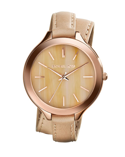 Michael Kors  Mid-Size Rose Gold Leather Slim Runway Three-Hand Watch