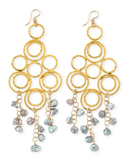 Devon Leigh Gray Freshwater Pearl Multi-Circle Chandelier Earrings