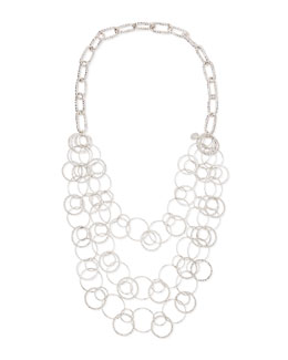 Devon Leigh Long Rhodium Electroplate Multi-Circle Necklace
