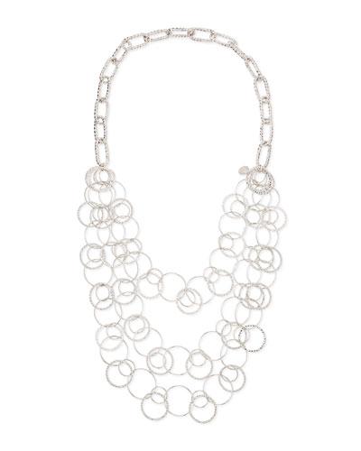 Devon Leigh Long Rhodium Electroplate Multi-Circle Necklace
