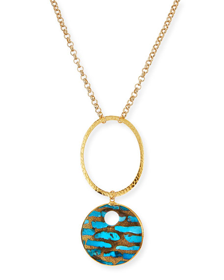 Devon Leigh Long Copper-Infused Turquoise Pendant Necklace